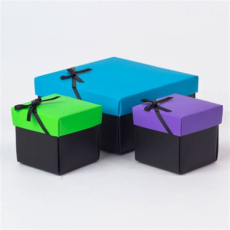 in a box blue purple green gift boxes set of 3 only 99p