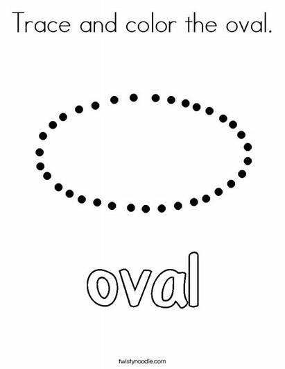 Oval Trace Coloring Shapes Tracing Worksheets Pages