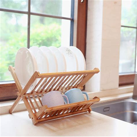 bamboo dish rack  tier collapsible drainer folding wooden dish drying rack buy kitchen plate