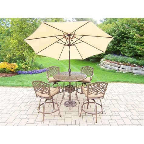 oakland living 7 piece aluminum patio bar height dining