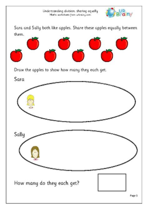 division worksheets equal sharing equally division and fractions maths worksheets for year 2 age 6 7