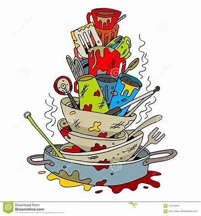 Dirty Dishes Cartoon Stack Dreamstime Clip