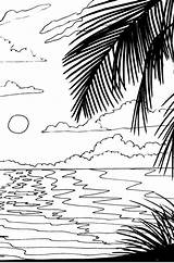 Coloring Sunset Pages Beach Sunrise Drawing Adult Scenery Stencil Ocean Scene Nature Natural Adults Tree Digital Palm Getdrawings Pattern Colouring sketch template