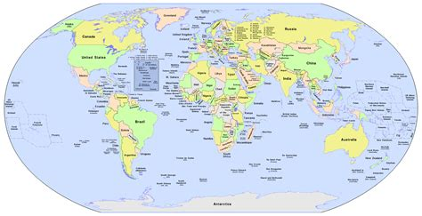 Map Of The World With Labels Roundtripticketme