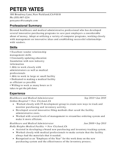 Chronological Resume With A Robust Summary by Healthcare Chronological Resume Sles Exles