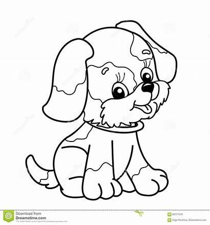 Coloring Outline Dog Puppy Cartoon Pet Sitting