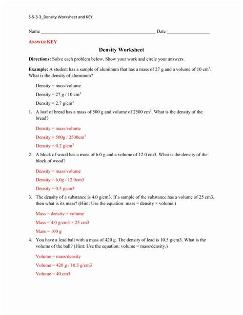 Worksheet For Density Problems  Kidz Activities