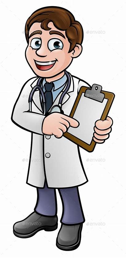 Doctor Cartoon Holding Character Clip Board Pointing