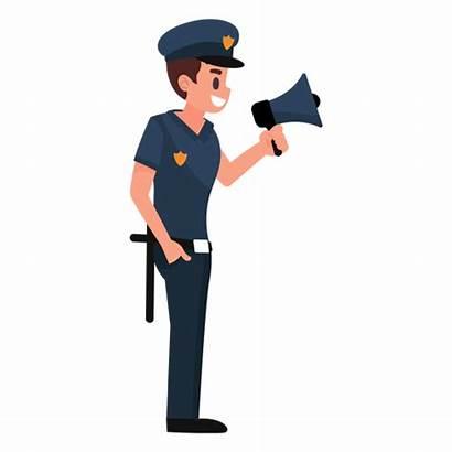 Policeman Illustration Megaphone Transparent Svg Cartoon Vector