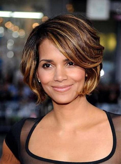 halle berry short layered bob straight synthetic hair