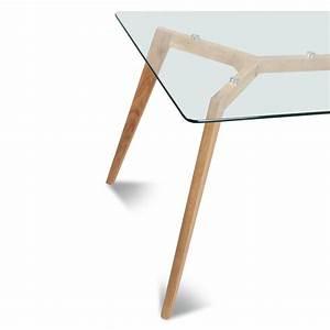 Plateau De Table En Verre : table rectangulaire plateau de verre style scandinave demeure et jardin ~ Teatrodelosmanantiales.com Idées de Décoration