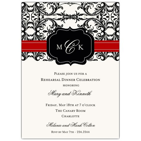 black  red elegant overlay rehearsal dinner invitations