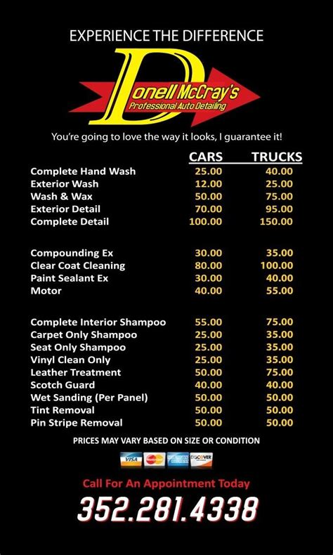 car detailing price list template 9 best auto detail images on flyer template free stencils and templates free
