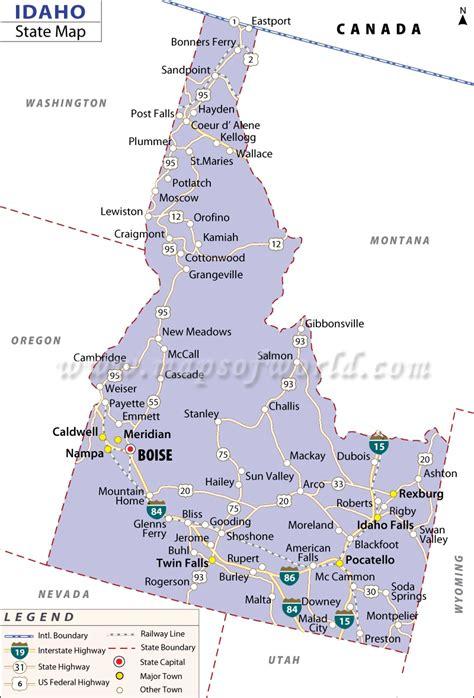 Map Of Idaho  State Map Of Usa