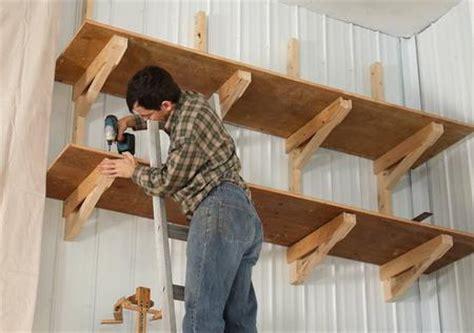suspended shelf ideas way up high cantilevered garage shelves