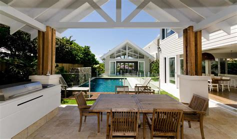 poolside living  contemporary seaside home