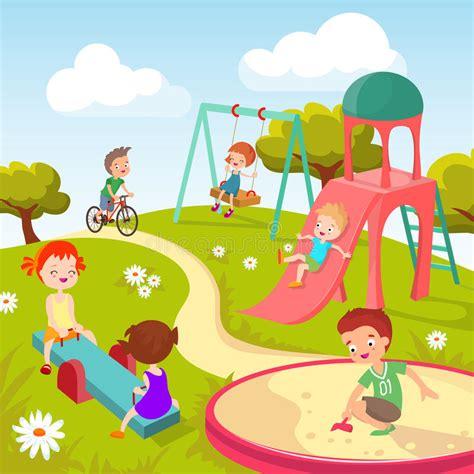 Play In Background Children At Playground Happy Children In