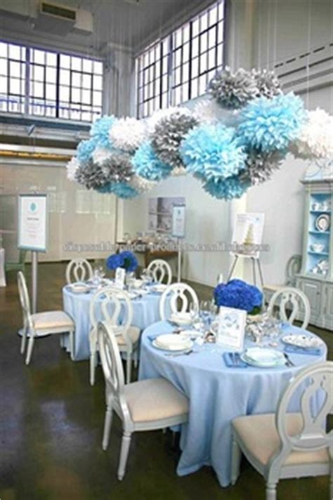 blue silver white tissue paper pom poms dessert tables