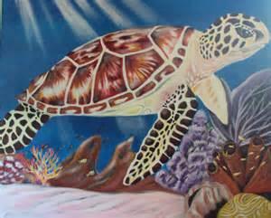 Sea Turtle Underwater Painting