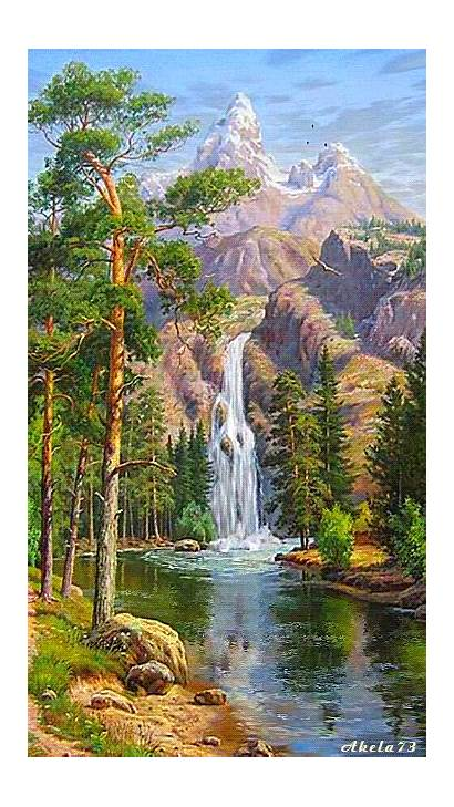 Nature Waterfall Painting Oil Drawing Numbers Canvas