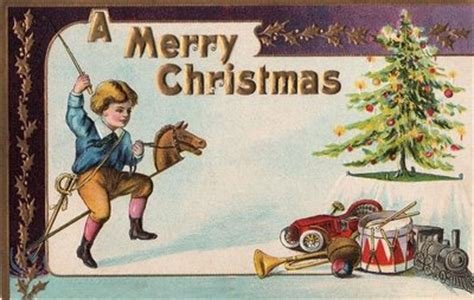 victorian christmas card boy  toys  graphics fairy