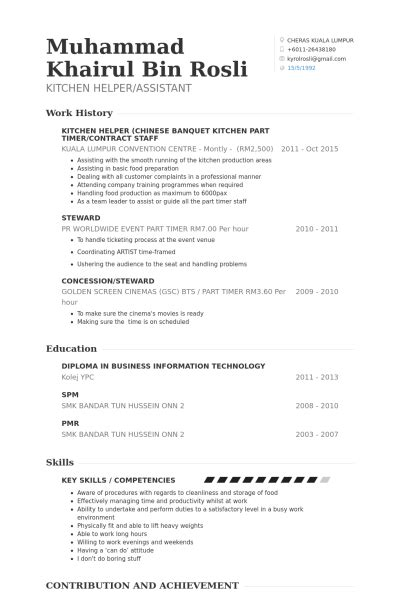 Resume Helper Free by Kitchen Helper Banquet Kitchen Part Timer