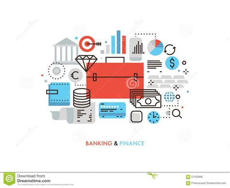 Finance And Banking Flat Line Illustration Stock Vector