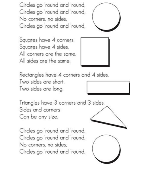 colors and shapes lyrics 25 best ideas about shape songs on preschool