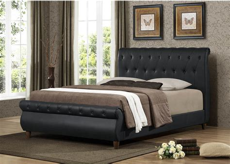 ashenhurst black modern sleigh bed  upholstered