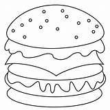 Coloring Hamburger sketch template