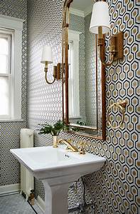 small bathroom with a lot of pattern on wall wallpaper With wallpaper patterns for bathroom