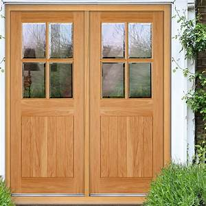 Cottage 4L Exterior Oak Double Door and Frame Set with