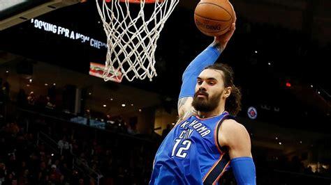 Steven Adams dunks on Cleveland Cavaliers
