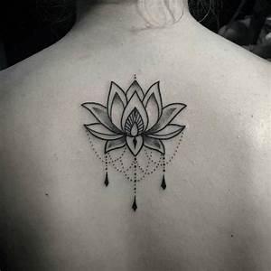 Tatouage dos lotus ornemental dotwork  flor de loto mandala  Pinterest  Tattoo and Tatoo