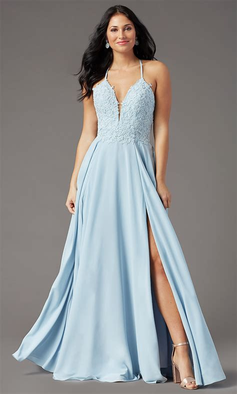 Long V-Neck Open-Back Chiffon Prom Dress - PromGirl
