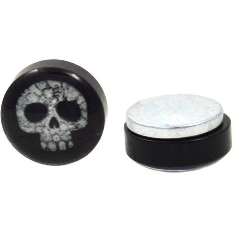 skull   flowers magnetic fake plug earrings