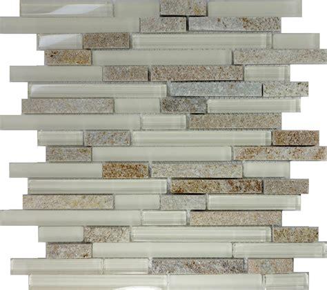 Sample Cream Beige Glass Natural Stone Linear Mosaic Tile