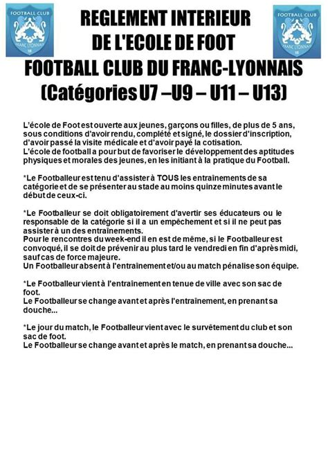 reglement interieur club de foot r 232 glement int 233 rieur club football football club du franc lyonnais footeo