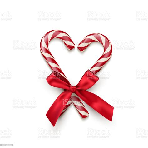 Download for free in png, svg, pdf formats 👆. Two Red Striped Candy Cane In Heart Shape With Red Bow ...