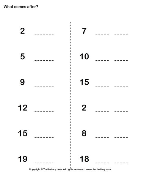 what comes after preschool number that comes after worksheet turtle diary 739