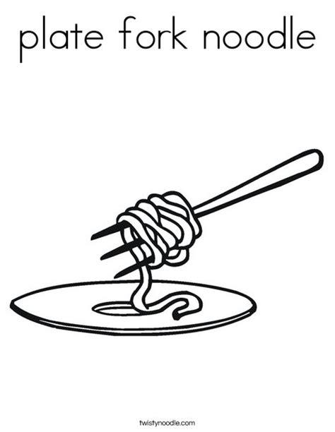 plate fork noodle coloring page twisty noodle