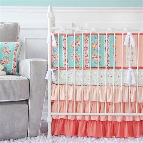 Mint And Coral Baby Bedding by Ashlyn S Coral And Gold Regal Room Project Nursery
