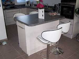 Ilot Cuisine Table : cuisine avec ilot central table 1 suivant la ~ Teatrodelosmanantiales.com Idées de Décoration