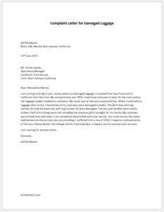 complaint letter  damaged luggage writelettercom