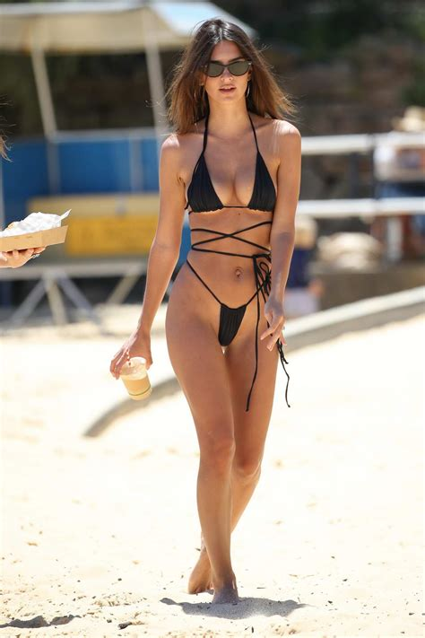 emily ratajkowski spotted in a black string bikini at the ...