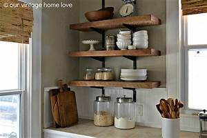 vintage home love: Reclaimed Wood Kitchen Shelving - Reveal
