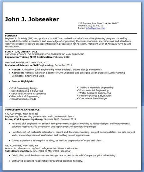 civil engineer resume sample entry level creative