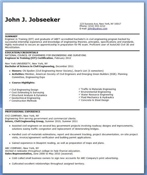 It's the same with building a resume. Civil Engineer Resume Graduate - huroncountychamber.com