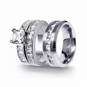 His hers 3pcs stainless steel men39s matching band for Matching engagement ring and wedding band