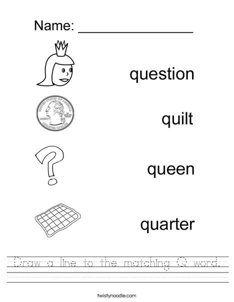 words with letter q draw a line to the matching q word worksheet twisty noodle 36971